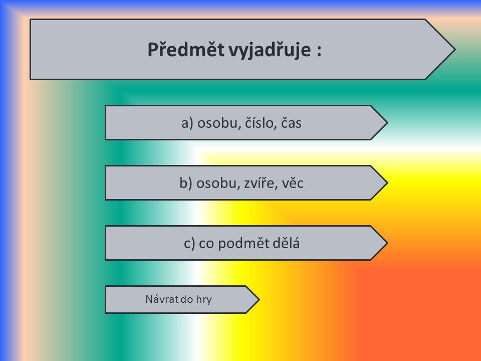 Předmět vyjadřuje : a) osobu, číslo, čas b) osobu, zvíře, věc