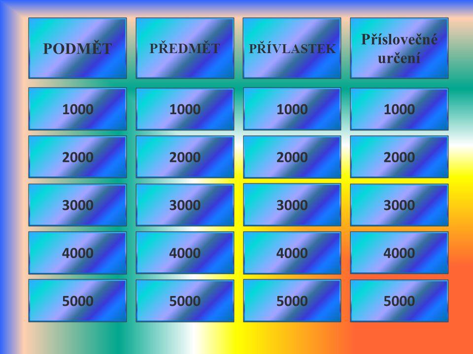 PODMĚT Příslovečné určení 1000 1000 1000 1000 2000 2000 2000 2000 3000