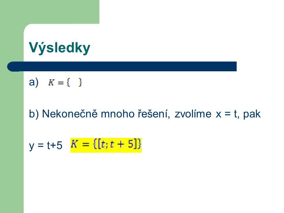 Výsledky a) b) Nekonečně mnoho řešení, zvolíme x = t, pak y = t+5