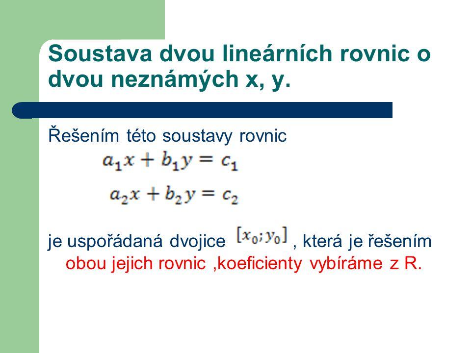 Soustava dvou lineárních rovnic o dvou neznámých x, y.