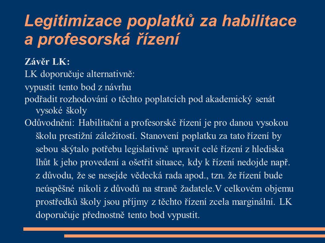 Legitimizace poplatků za habilitace a profesorská řízení