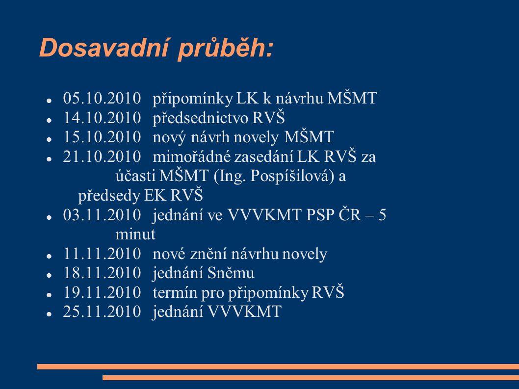 Dosavadní průběh: 05.10.2010 připomínky LK k návrhu MŠMT