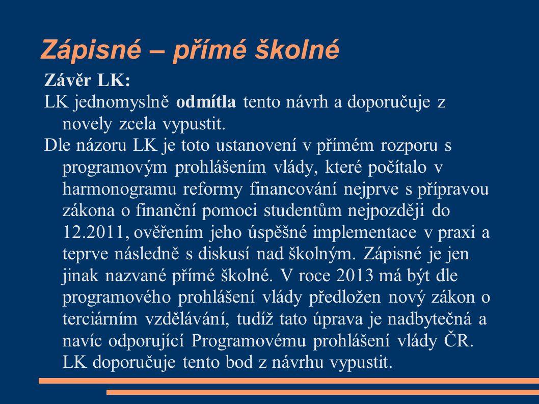 Zápisné – přímé školné Závěr LK: