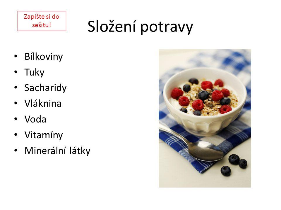 Složení potravy Bílkoviny Tuky Sacharidy Vláknina Voda Vitamíny
