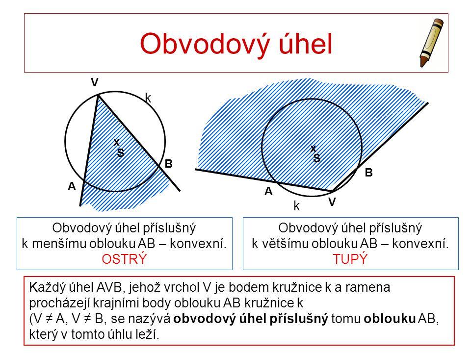 Obvodový úhel S. x. V. A. B. k. x. A. B. S. k. V. Obvodový úhel příslušný k menšímu oblouku AB – konvexní. OSTRÝ.