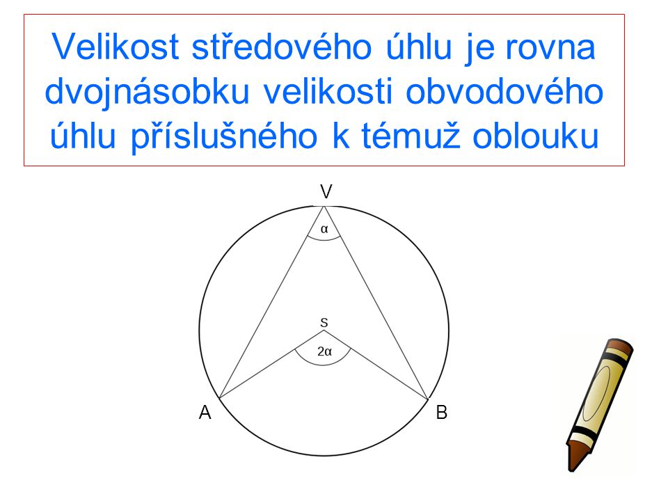 Velikost středového úhlu je rovna dvojnásobku velikosti obvodového úhlu příslušného k témuž oblouku