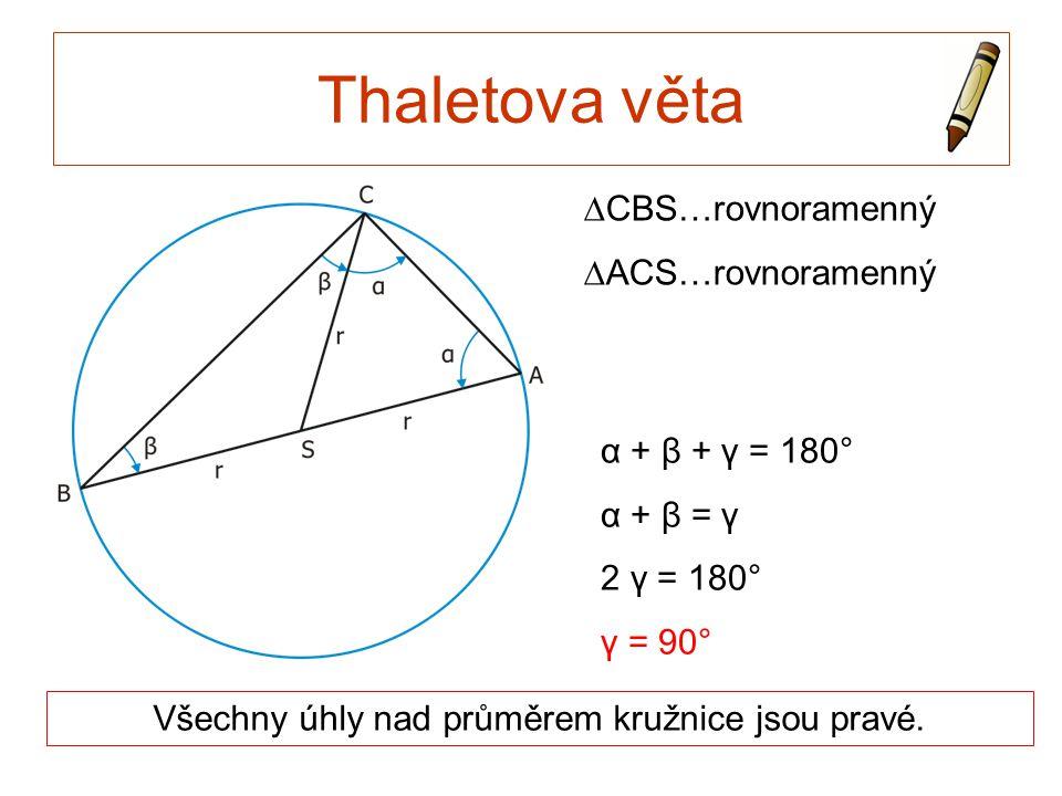 Všechny úhly nad průměrem kružnice jsou pravé.