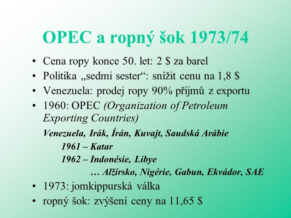 OPEC a ropný šok 1973/74 Cena ropy konce 50. let: 2 $ za barel