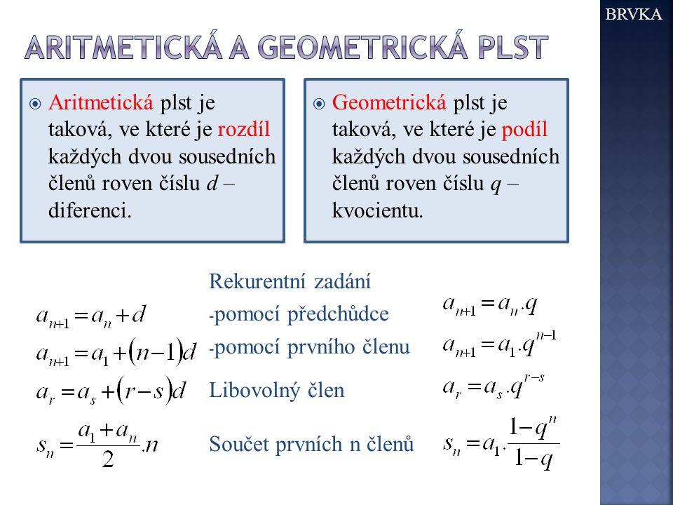 Aritmetická a geometrická plst