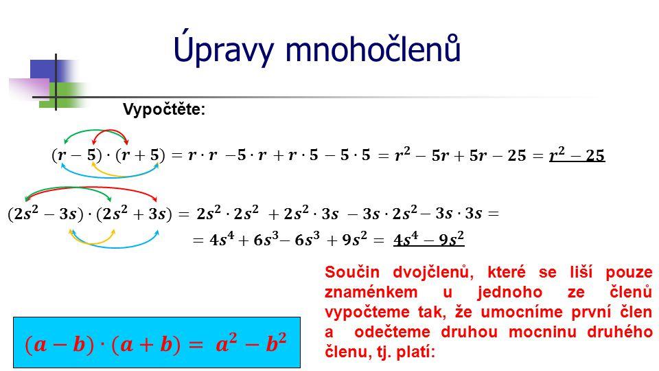 Úpravy mnohočlenů (𝒂−𝒃)∙(𝒂+𝒃)= 𝒂 𝟐 − 𝒃 𝟐 Vypočtěte: (𝒓−𝟓)∙(𝒓+𝟓)= 𝒓∙𝒓