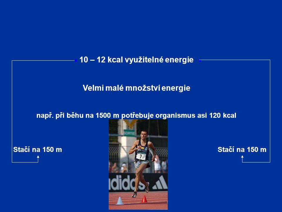 10 – 12 kcal využitelné energie Velmi malé množství energie