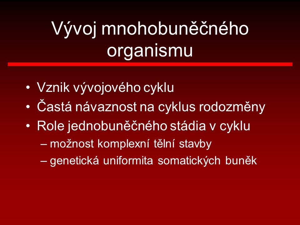 Vývoj mnohobuněčného organismu