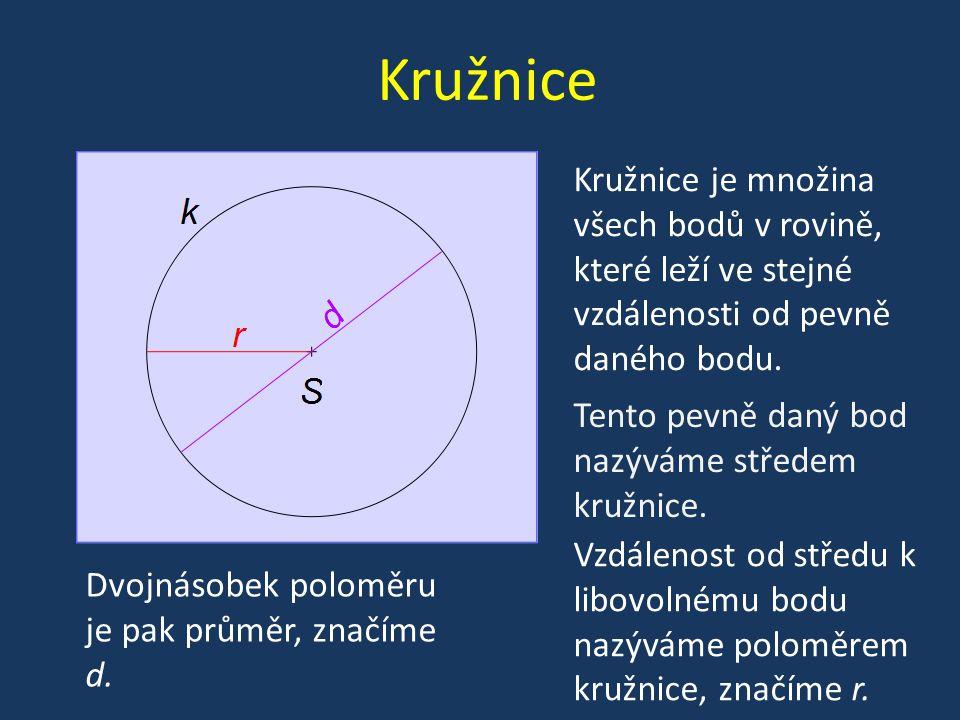 Kružnice Kružnice je množina všech bodů v rovině, které leží ve stejné vzdálenosti od pevně daného bodu.