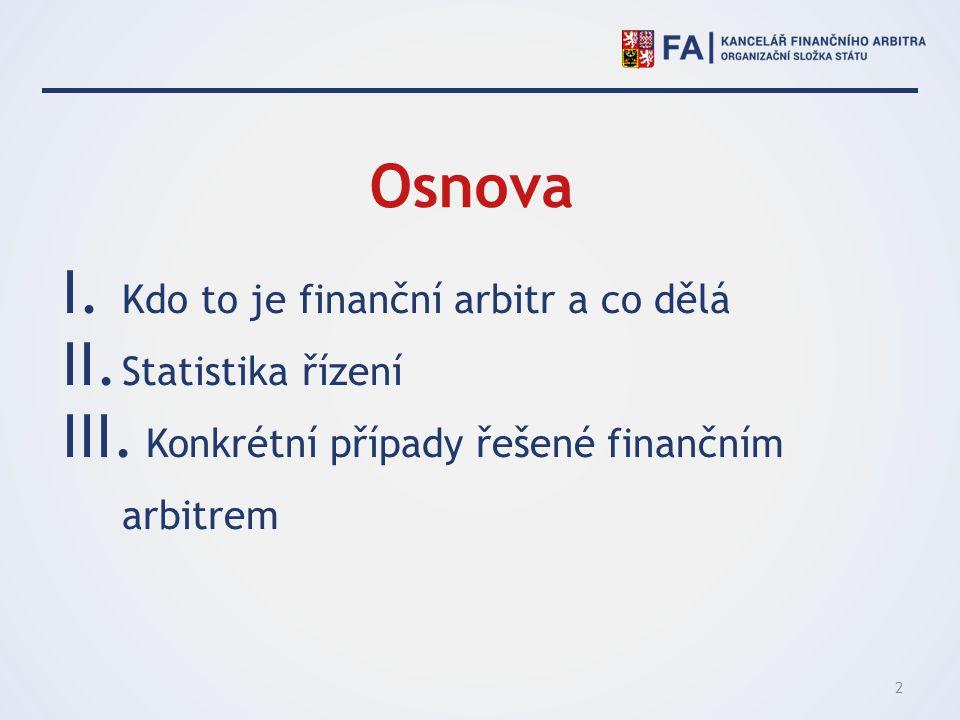 Osnova Kdo to je finanční arbitr a co dělá Statistika řízení