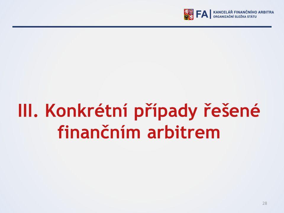III. Konkrétní případy řešené finančním arbitrem