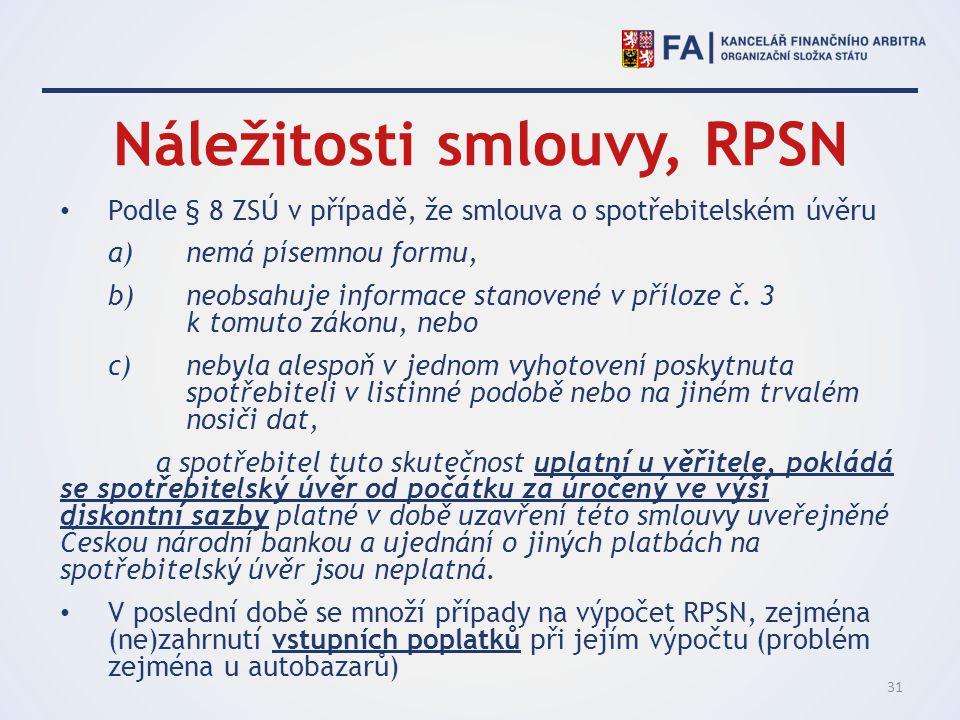Náležitosti smlouvy, RPSN