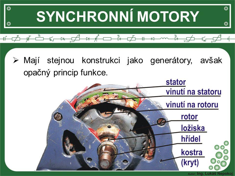 SYNCHRONNÍ MOTORY Mají stejnou konstrukci jako generátory, avšak opačný princip funkce.