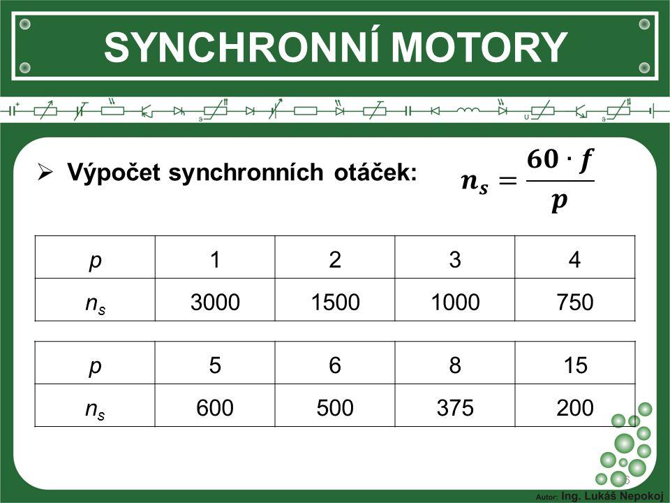 SYNCHRONNÍ MOTORY 𝒏 𝒔 = 𝟔𝟎∙𝒇 𝒑 Výpočet synchronních otáček: p 1 2 3 4
