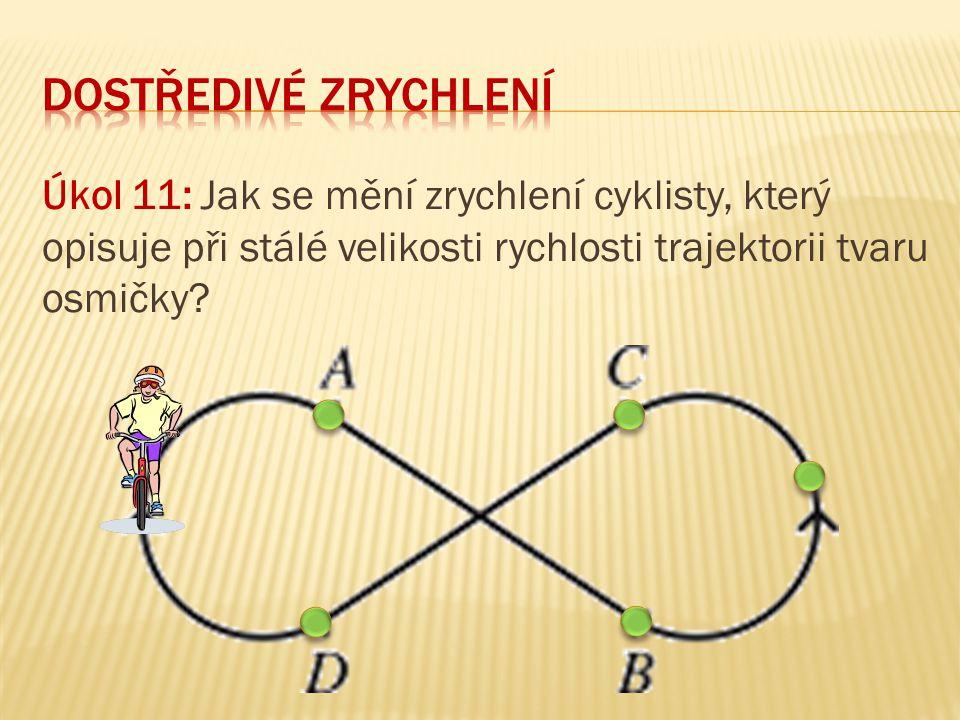 dostředivé zrychlení Úkol 11: Jak se mění zrychlení cyklisty, který opisuje při stálé velikosti rychlosti trajektorii tvaru osmičky