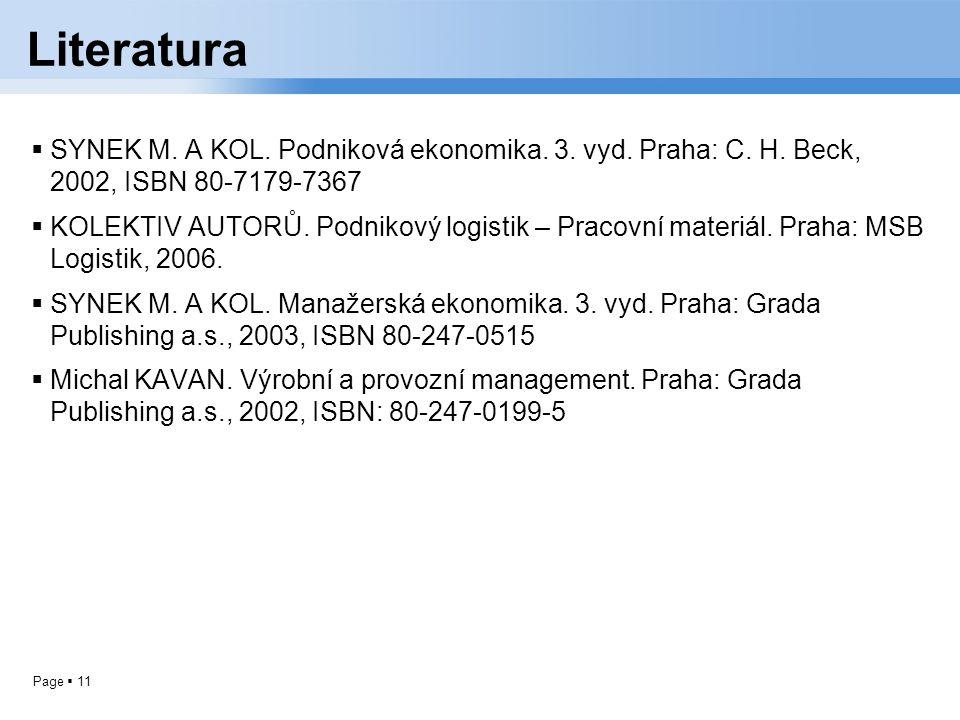 Literatura SYNEK M. A KOL. Podniková ekonomika. 3. vyd. Praha: C. H. Beck, 2002, ISBN 80-7179-7367.
