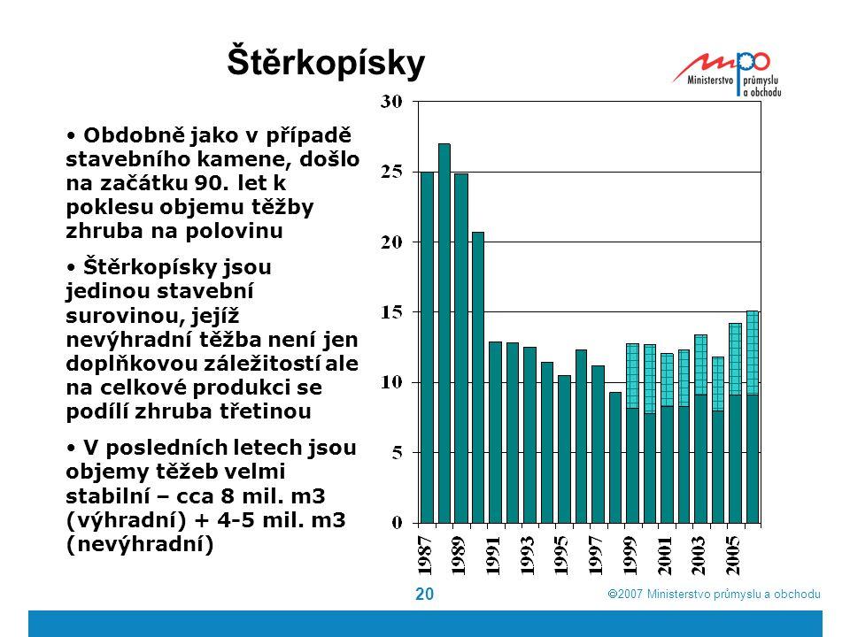 Štěrkopísky Obdobně jako v případě stavebního kamene, došlo na začátku 90. let k poklesu objemu těžby zhruba na polovinu.