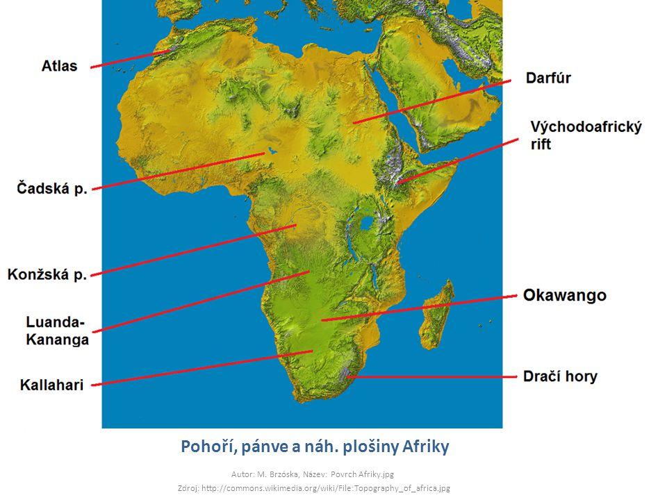 Pohoří, pánve a náh. plošiny Afriky