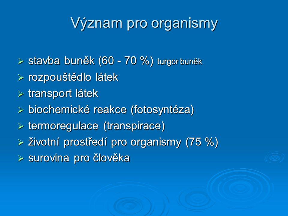Význam pro organismy stavba buněk (60 - 70 %) turgor buněk