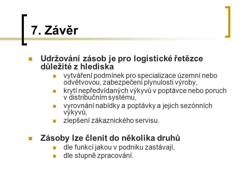 7. Závěr Udržování zásob je pro logistické řetězce důležité z hlediska