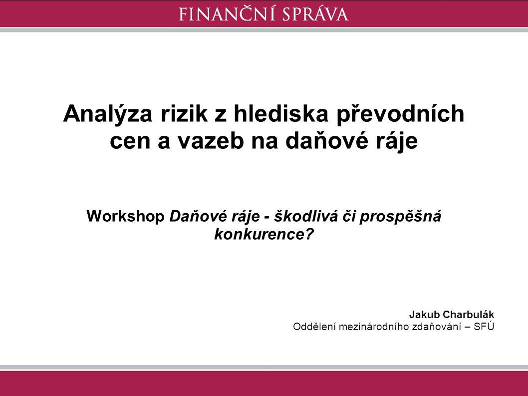Jakub Charbulák Oddělení mezinárodního zdaňování – SFÚ