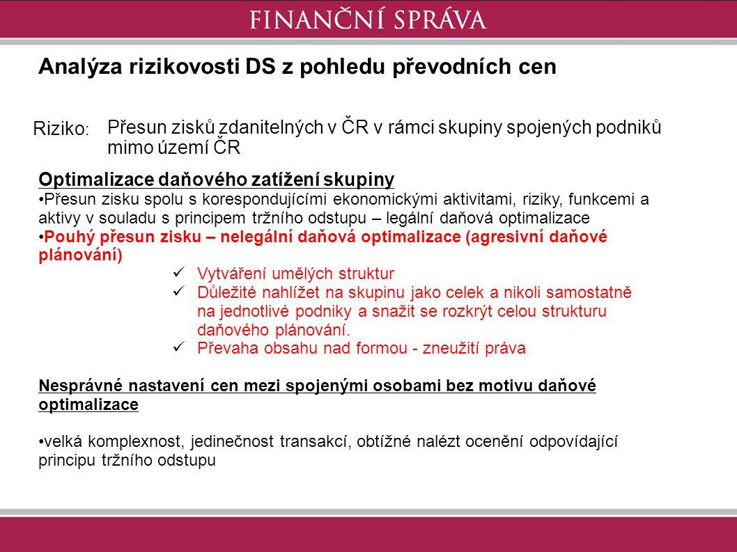 Analýza rizikovosti DS z pohledu převodních cen