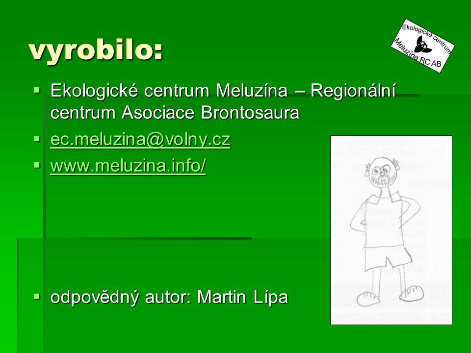 vyrobilo: Ekologické centrum Meluzína – Regionální centrum Asociace Brontosaura. ec.meluzina@volny.cz.