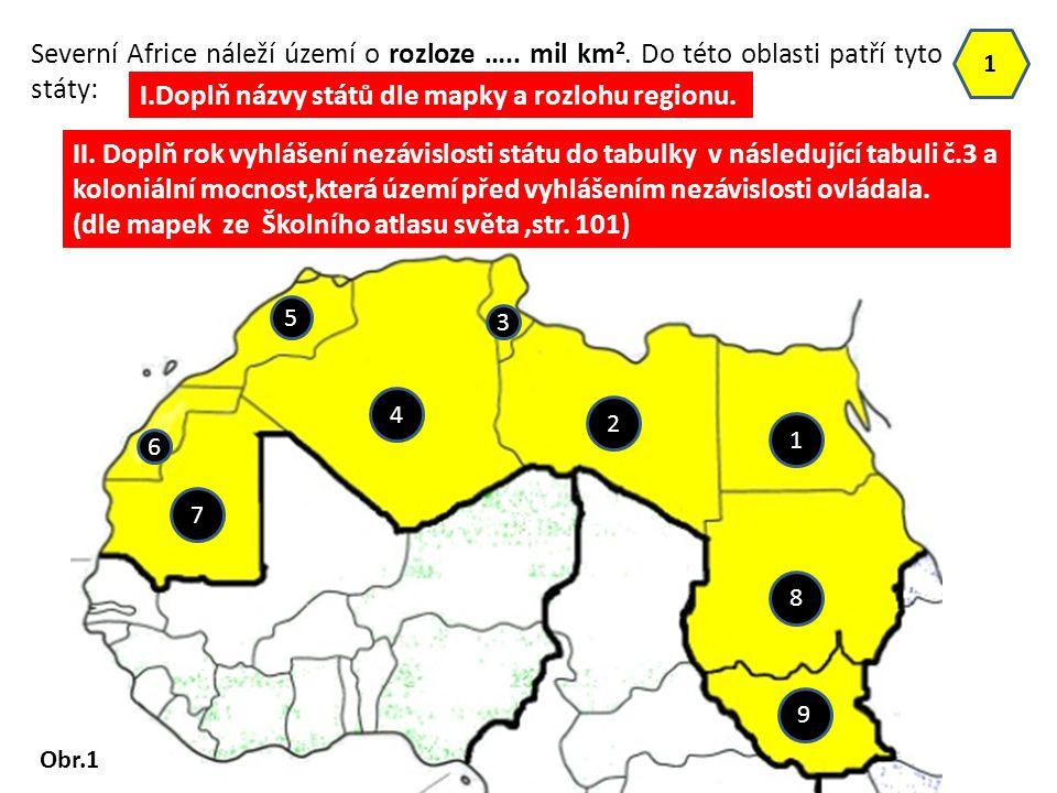 I.Doplň názvy států dle mapky a rozlohu regionu.
