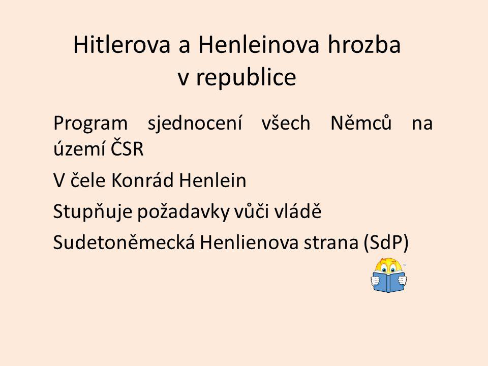 Hitlerova a Henleinova hrozba v republice