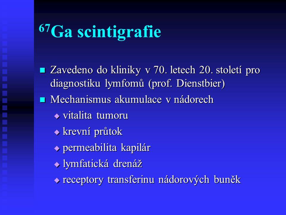 67Ga scintigrafie Zavedeno do kliniky v 70. letech 20. století pro diagnostiku lymfomů (prof. Dienstbier)