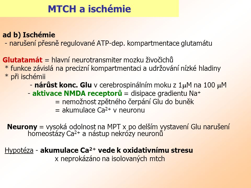 MTCH a ischémie ad b) Ischémie