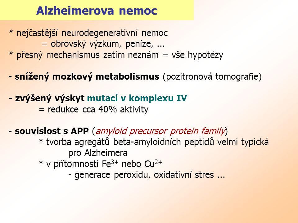 Alzheimerova nemoc * nejčastější neurodegenerativní nemoc