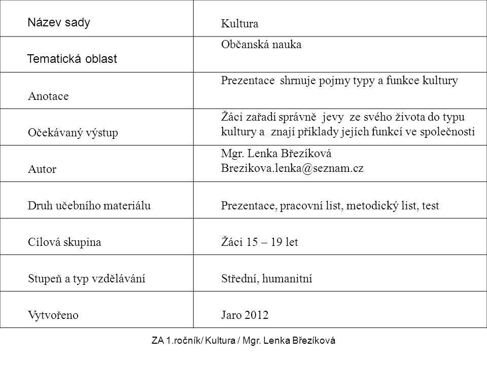 ZA 1.ročník/ Kultura / Mgr. Lenka Březíková