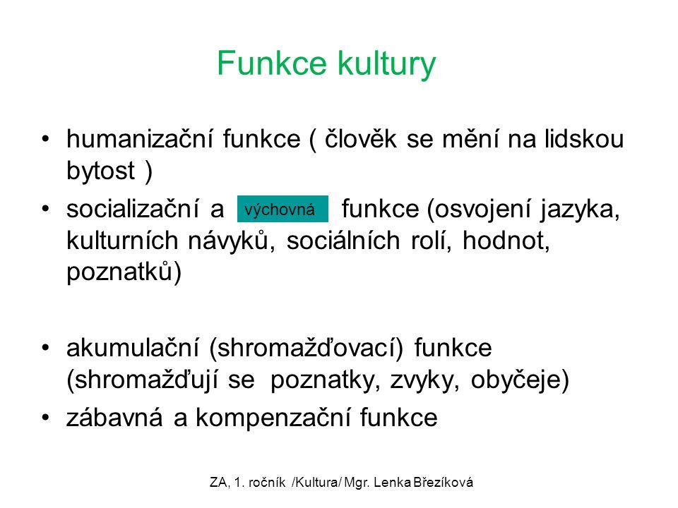 ZA, 1. ročník /Kultura/ Mgr. Lenka Březíková