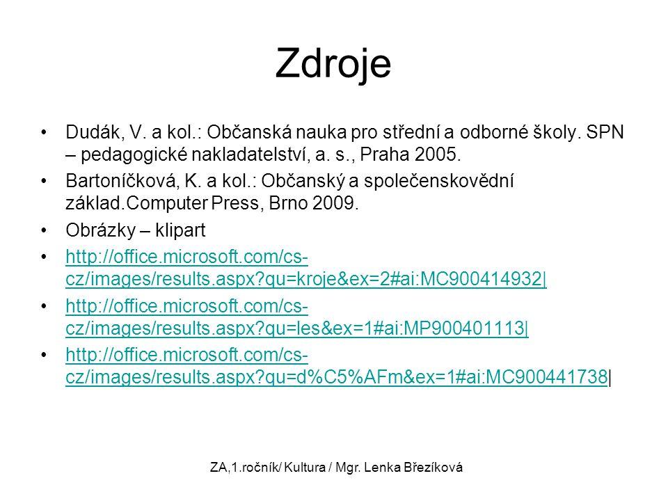 ZA,1.ročník/ Kultura / Mgr. Lenka Březíková