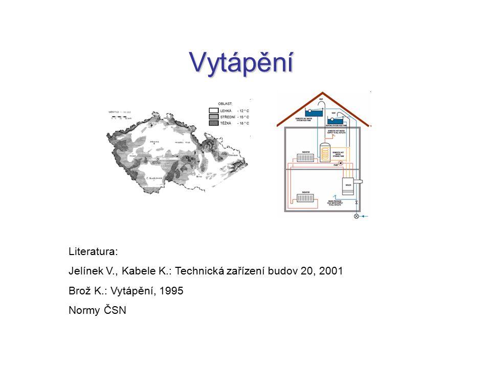 Vytápění Literatura: Jelínek V., Kabele K.: Technická zařízení budov 20, 2001. Brož K.: Vytápění, 1995.