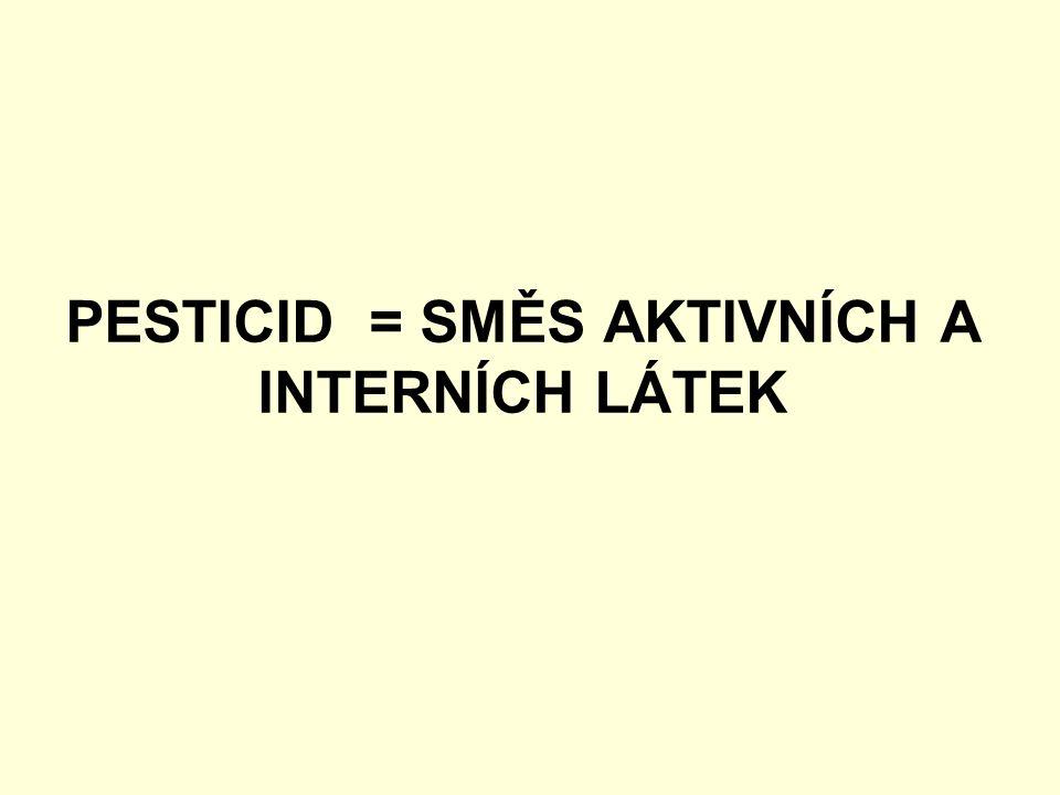 PESTICID = SMĚS AKTIVNÍCH A INTERNÍCH LÁTEK