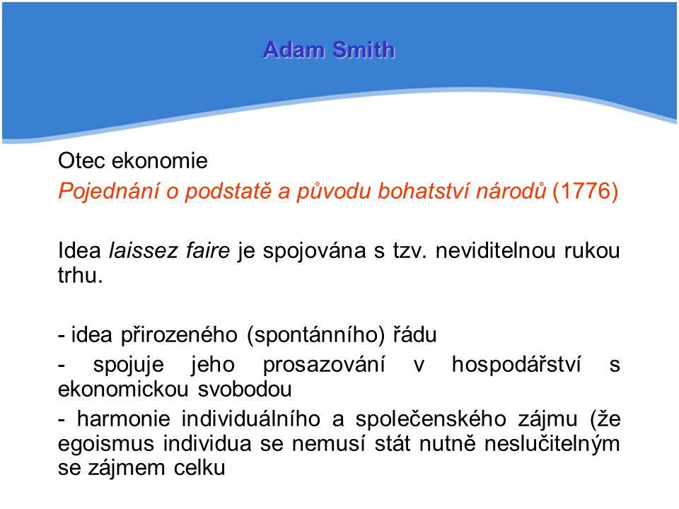 Adam Smith Otec ekonomie. Pojednání o podstatě a původu bohatství národů (1776) Idea laissez faire je spojována s tzv. neviditelnou rukou trhu.