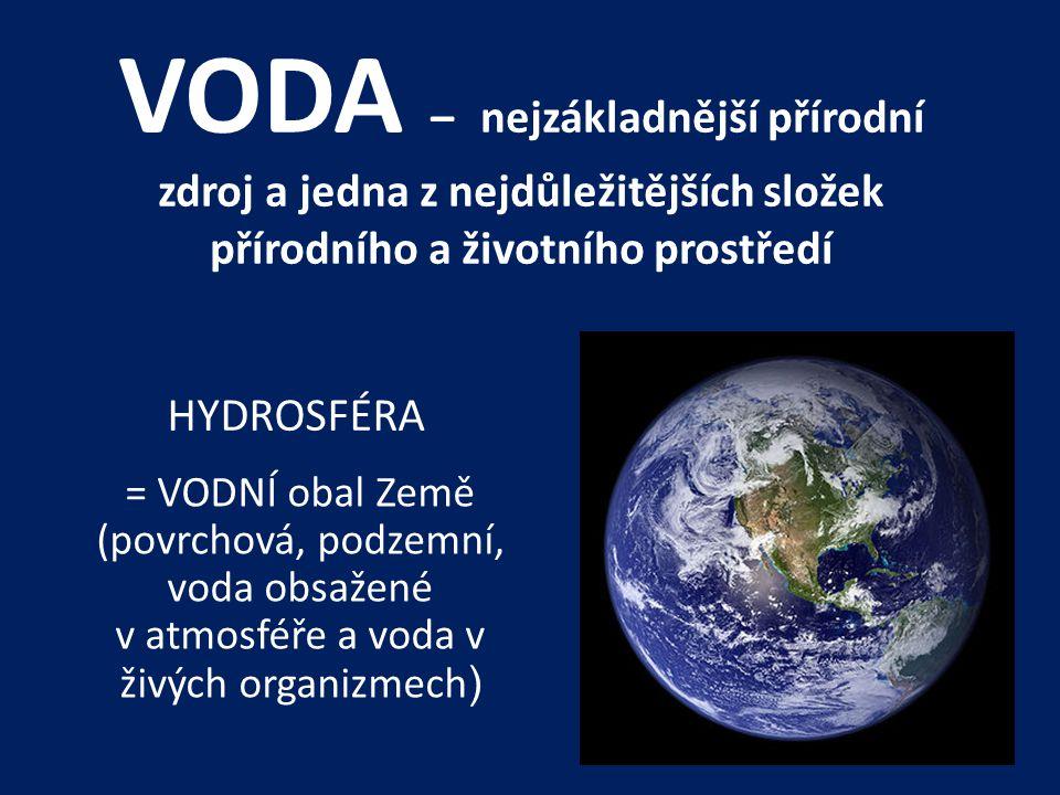 VODA – nejzákladnější přírodní zdroj a jedna z nejdůležitějších složek přírodního a životního prostředí