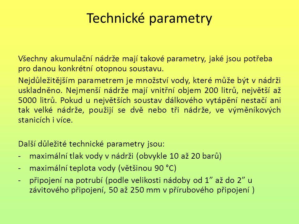 Technické parametry Všechny akumulační nádrže mají takové parametry, jaké jsou potřeba pro danou konkrétní otopnou soustavu.