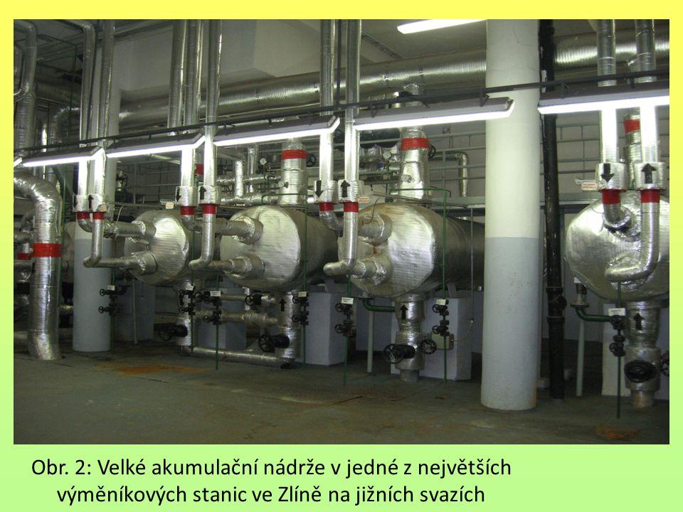 Obr. 2: Velké akumulační nádrže v jedné z největších výměníkových stanic ve Zlíně na jižních svazích