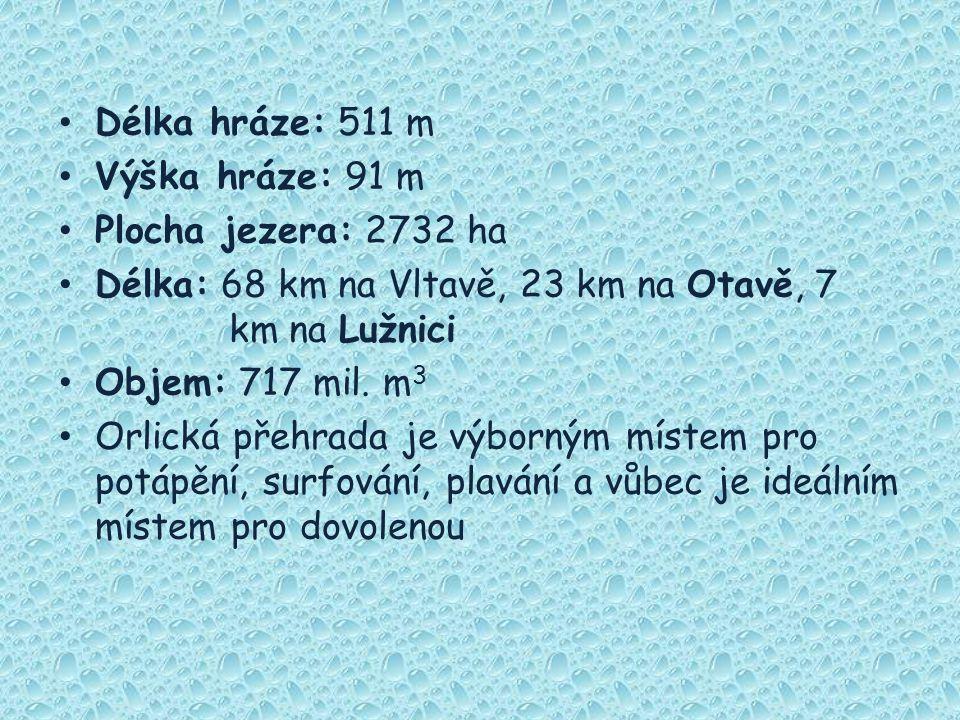 Délka hráze: 511 m Výška hráze: 91 m. Plocha jezera: 2732 ha. Délka: 68 km na Vltavě, 23 km na Otavě, 7 km na Lužnici.