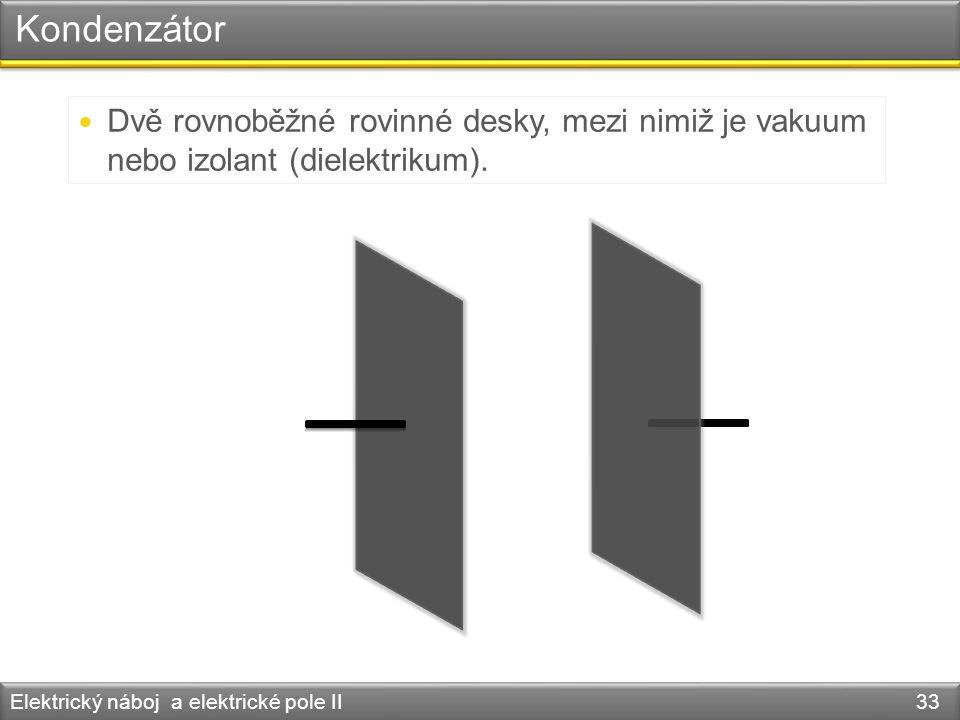 Kondenzátor Dvě rovnoběžné rovinné desky, mezi nimiž je vakuum nebo izolant (dielektrikum).