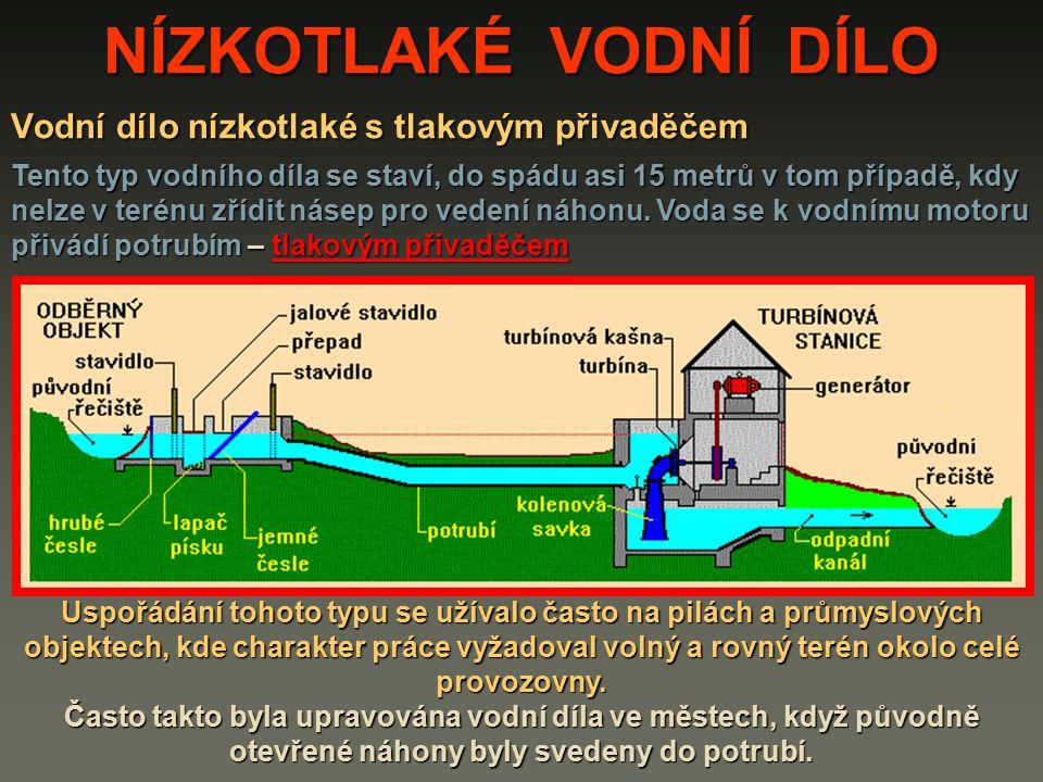 Vodní dílo nízkotlaké s tlakovým přivaděčem