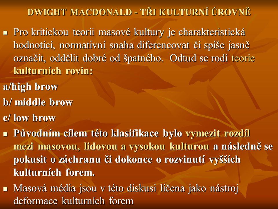 DWIGHT MACDONALD - TŘI KULTURNÍ ÚROVNĚ