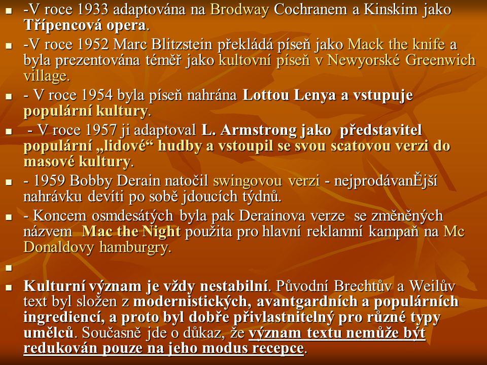 -V roce 1933 adaptována na Brodway Cochranem a Kinskim jako Třípencová opera.